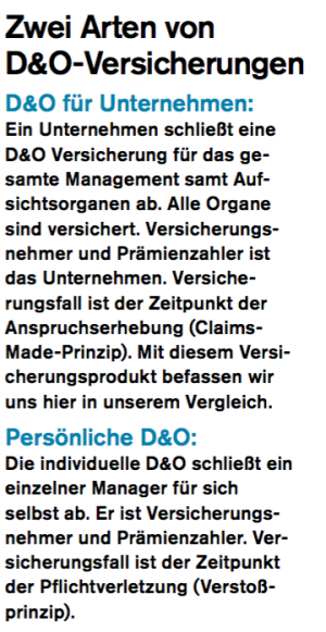 D&O-Versicherungen, Screenshot